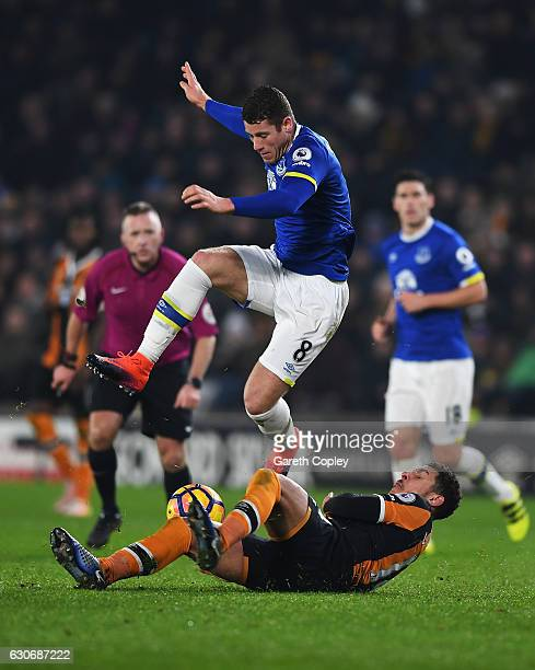 Ross Barkley of Everton is tackled by Jake Livermore of Hull City during the Premier League match between Hull City and Everton at KCOM Stadium on...