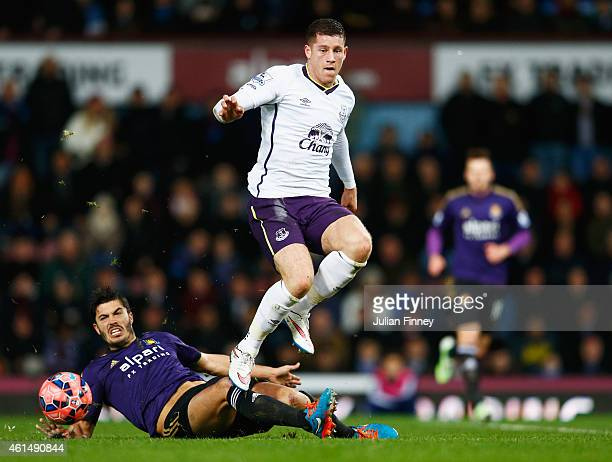 Ross Barkley of Everton is tackled by James Tomkins of West Ham United during the FA Cup Third Round Replay match between West Ham United and Everton...