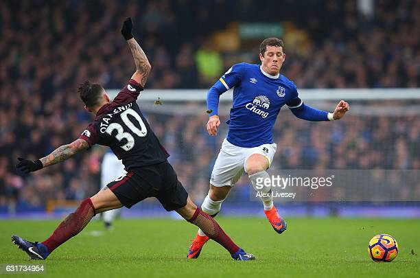 Ross Barkley of Everton is tackled by Nicolas Otamendi of Manchester City during the Premier League match between Everton and Manchester City at...
