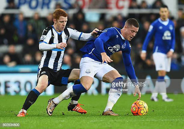 Ross Barkley of Everton is tracked by Jack Colback of Newcastle United during the Barclays Premier League match between Newcastle United and Everton...