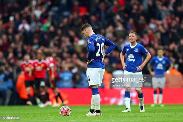 Ross Barkley of Everton looks dejected after Anthony Martial of Manchester United scored his sides second goal during The Emirates FA Cup semi final...