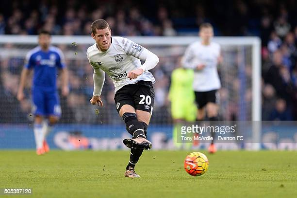 Ross Barkley of Everton passes that ball out of midfield during the Barclays Premier League match between Chelsea and Everton at Stamford Bridge on...