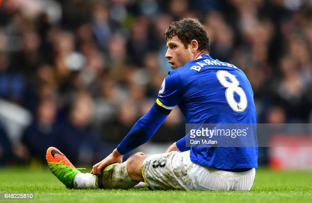 Ross Barkley of Everton reacts after a missed chance during the Premier League match between Tottenham Hotspur and Everton at White Hart Lane on...
