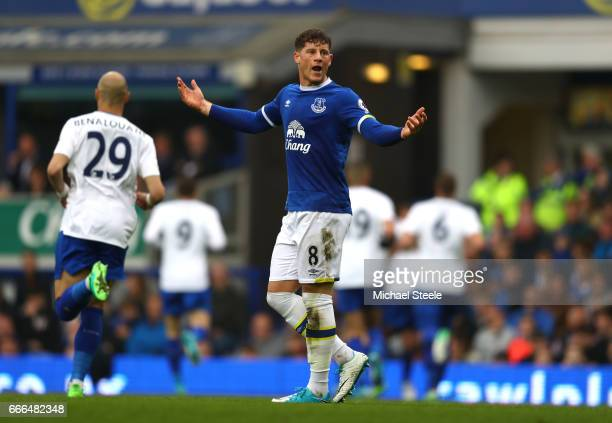 Ross Barkley of Everton reacts after Leicester's second goal during the Premier League match between Everton and Leicester City at Goodison Park on...