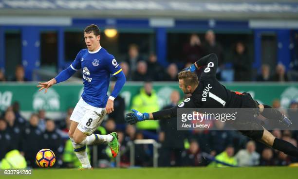 Ross Barkley of Everton scores his sides sixth goal during the Premier League match between Everton and AFC Bournemouth at Goodison Park on February...