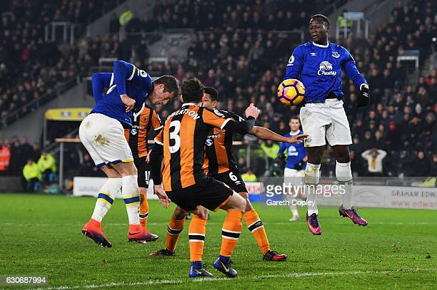 Ross Barkley of Everton scores his team's second goal during the Premier League match between Hull City and Everton at KCOM Stadium on December 30,...