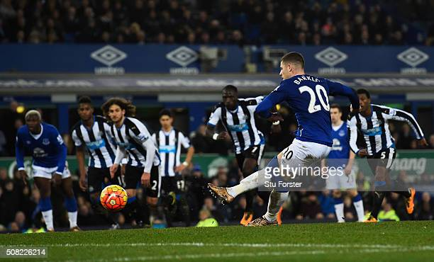 Ross Barkley of Everton scores his team's second goal from the penalty spot during the Barclays Premier League match between Everton and Newcastle...