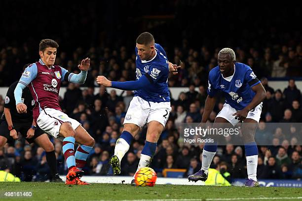 Ross Barkley of Everton scores his team's third goal during the Barclays Premier League match between Everton and Aston Villa at Goodison Park on...