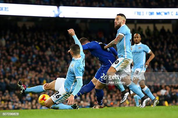 Ross Barkley of Everton scores the opening goal during the Capital One Cup Semi Final second leg match between Manchester City and Everton at the...