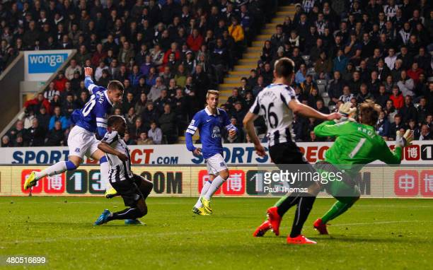 Ross Barkley of Everton scores the opening goal past Tim Krul of Newcastle United during the Barclays Premier League match between Newcastle United...
