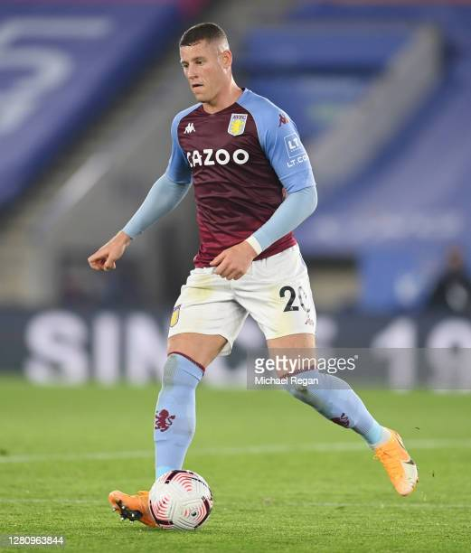 Ross Barkley of Villa in action during the Premier League match between Leicester City and Aston Villa at The King Power Stadium on October 18 2020...