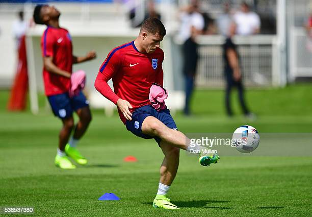 Ross Barkley passes the ball during an England training session ahead of the UEFA EURO 2016 at Stade du Bourgognes on June 7 2016 in Chantilly France...