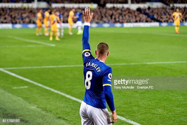 Ross Barkley prepares to take a corner during the Barclays Premier League match between Everton and Crystal Palace at Goodison Park on September 30...
