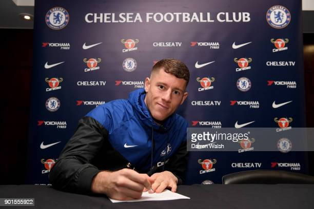 Ross Barkley signs for Chelsea at Stamford Bridge on January 5 2018 in London England