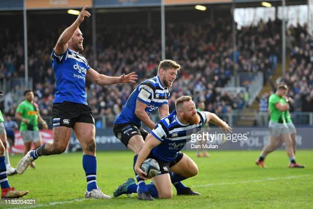 Ross Batty of Bath celebrates after scoring his side's third try during the Gallagher Premiership Rugby match between Bath Rugby and Harlequins at...