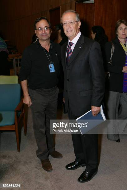 """Ross Bleckner and Antonio Maria Costa attend UNDOC Hosts Discussion and Book Signing for """"HALF THE SKY"""" at United Nations on September 15, 2009 in..."""