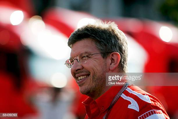 Ross Brawn of Ferrari walks through the paddock after practice for the Formula One Turkish Grand Prix at Istanbul Park on August 19 2005 in Istanbul...