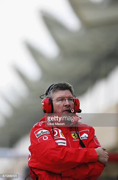 Ross Brawn technical director of Ferrari oversee's pit stop practice after qualifying for the Bahrain Formula One Grand Prix at the Bahrain...