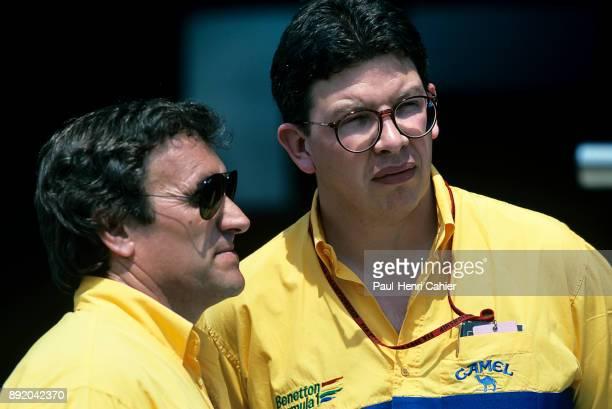 Ross Brawn Tom Walkinshaw Grand Prix of San Marino Autodromo Enzo e Dino Ferrari Imola 17 May 1992 Ross Brawn technical director of Benetton team...