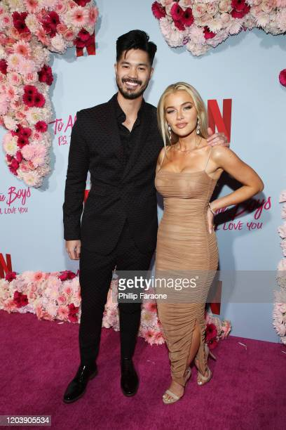 Ross Butler and Jean Watts attend the premiere of Netflix's To All The Boys PS I Still Love You at the Egyptian Theatre on February 03 2020 in...
