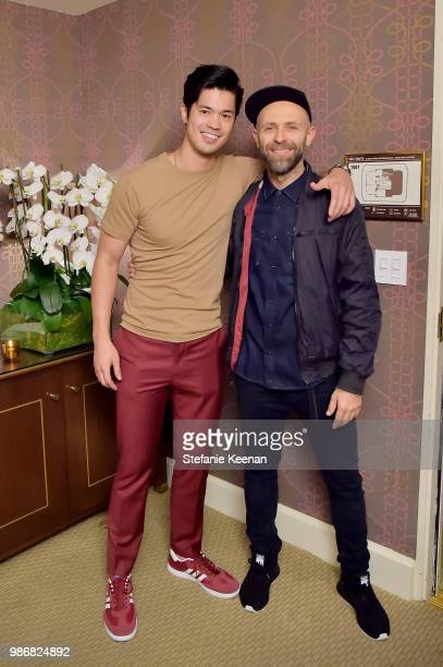 Ross Butler and Stefano Rosso attend Diesel Presents Scott Lipps Photography Exhibition 'Rocks Not Dead' at Sunset Tower on June 28 2018 in Los...