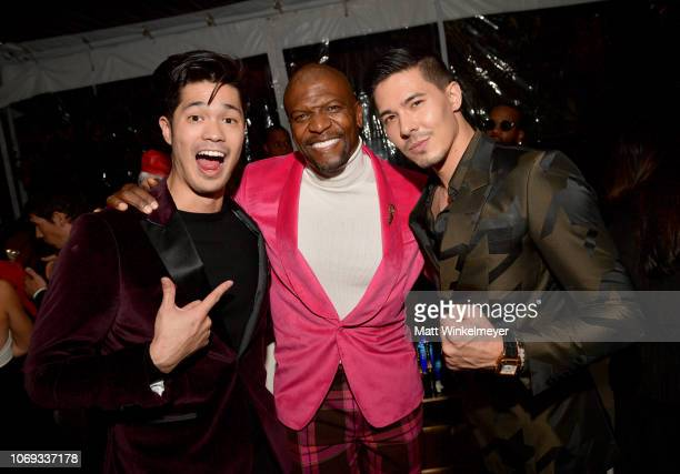 Ross Butler Terry Crews and Lewis Tan attend the 2018 GQ Men of the Year Party at a private residence on December 6 2018 in Beverly Hills California
