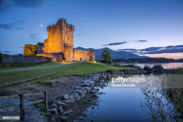 ross castle at twilight - castle stock photos and pictures