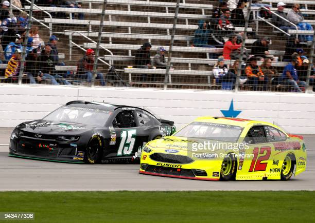 Ross Chastain and Ryan Blaney run nosetonose down the front stretch during the O'Reilly Auto Parts 500 at Texas Motor Speedway Sunday April 8 2018 in...