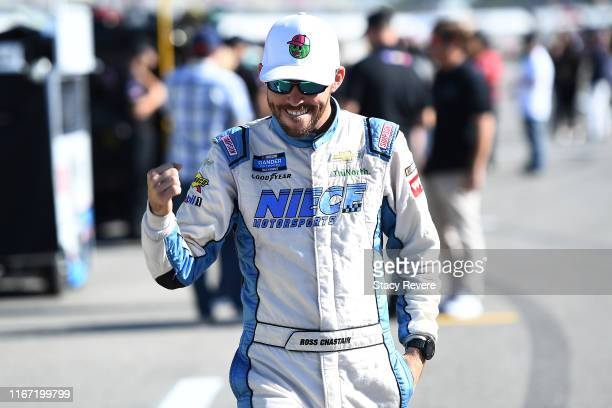 Ross Chastain driver of the Baja/Niece Equipment Chevrolet walks to his truck during qualifying for the NASCAR Gander Outdoor Truck Series Corrigan...