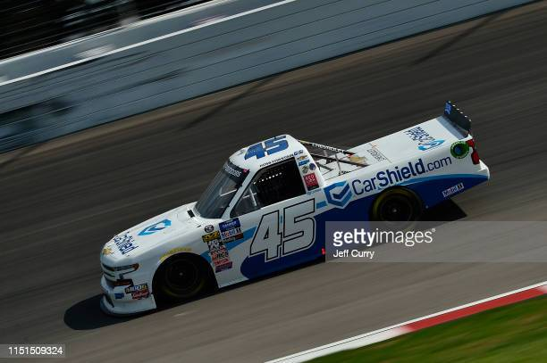Ross Chastain driver of the CarShieldcom Chevrolet drives during practice for the NASCAR Gander Outdoors Truck Series CarShield 200 presented by CK...