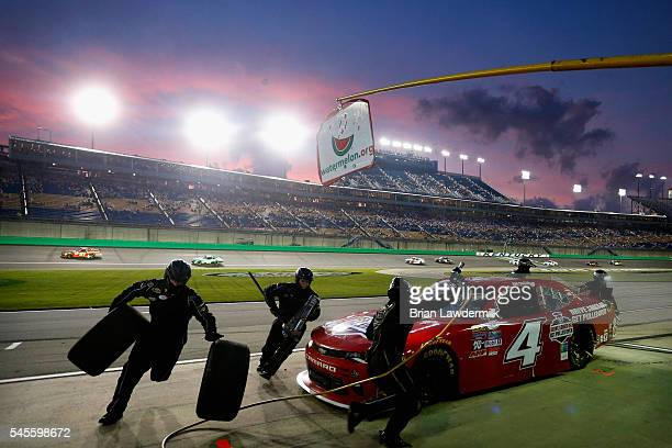 Ross Chastain driver of the Drive Sober or Get Puller Over Chevrolet pits during the NASCAR XFINITY Series ALSCO 300 at Kentucky Speedway on July 8...