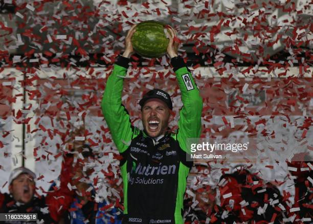 Ross Chastain driver of the Ellsworth Advisors Chevrolet celebrates afyter winning the NASCAR Xfinity Series Circle K Firecracker 250 Powered by...