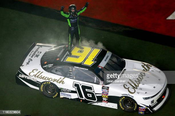 Ross Chastain driver of the Ellsworth Advisors Chevrolet celebrates after winning the NASCAR Xfinity Series Circle K Firecracker 250 Powered by...