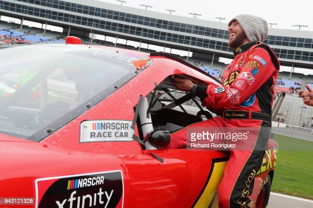 Ross Chastain driver of the Flex Seal Chevrolet climbs into his car prior to the NASCAR Xfinity Series My Bariatric Solutions 300 at Texas Motor...