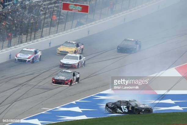 Ross Chastain driver of the LowT Center Chevrolet is involved in an ontrack incident during the Monster Energy NASCAR Cup Series O'Reilly Auto Parts...