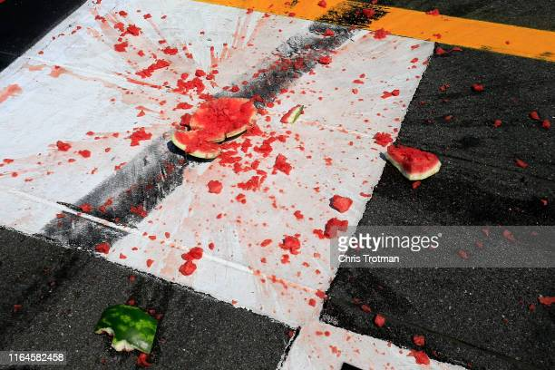 Ross Chastain driver of the Niece/Acurlite Chevrolet smashed a watermelon following his victory in the NASCAR Gander Outdoors Truck Series Gander RV...