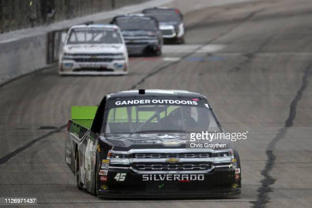 Ross Chastain driver of the OEM2 Powerd by TruNorth Chevrolet leads a pack of cars during the NASCAR Gander Outdoors Truck Series Ultimate Tailgating...