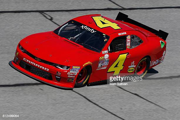 Ross Chastain driver of the teamjdmotorsportscom Chevrolet practices for the NASCAR XFINITY Series Heads Up Georgia 250 at Atlanta Motor Speedway on...