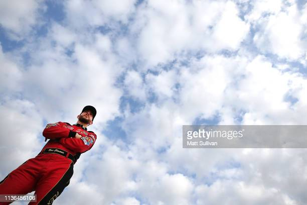 Ross Chastain driver of the teamjdmotorsportscom Chevrolet stands by his car during practice for the NASCAR Xfinity Series ToyotaCare 250 at Richmond...