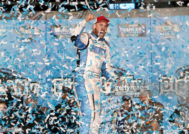 Ross Chastain driver of the TruNorth/Paul Jr Designs Chevrolet celebrates in victory lane after winning the NASCAR Gander Outdoors Truck Series...