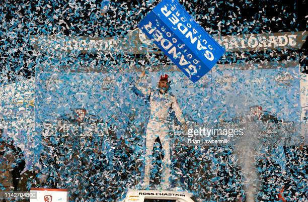 Ross Chastain, driver of the TruNorth/Paul Jr. Designs Chevrolet, celebrates in victory lane after winning the NASCAR Gander Outdoors Truck Series...