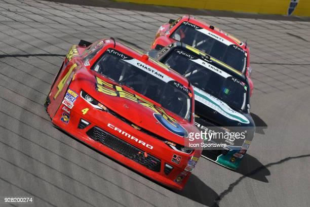 Ross Chastain Johnny Davis Chevrolet Camaro ZL1 leads Ryan Truex Matthew Kaulig Chevrolet Camaro ZL1 and Michael Annett JR Motorsports Chevrolet...