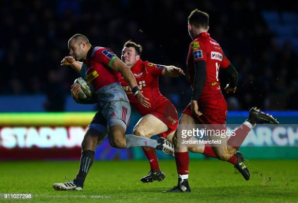 Ross Chisholm of Harlequins breaks free to touch down a try during the AngloWelsh Cup match between Harlequins and Scarlets at Twickenham Stoop on...