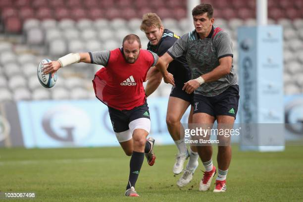Ross Chisholm of Harlequins in action during the captain's run at Twickenham Stoop on September 14 2018 in London England