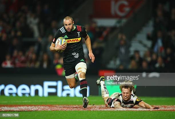 Ross Chisholm of Harlequins scores his teams fourth try during the Aviva Premiership Big Game 8 match between Harlequins and Gloucester at Twickenham...
