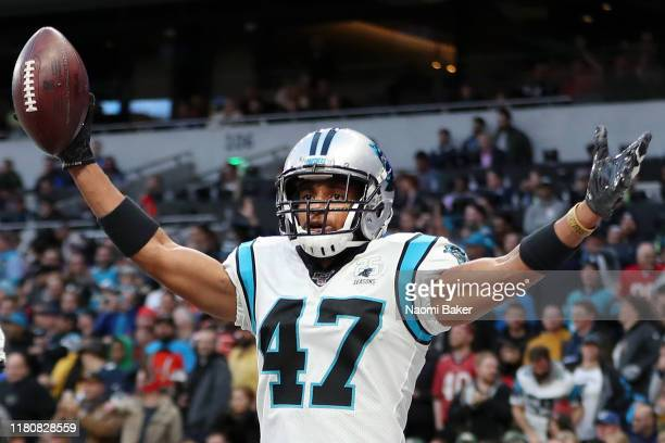Ross Cockrell of Carolina Panthers celebrates an interception during the NFL game between Carolina Panthers and Tampa Bay Buccaneers at Tottenham...