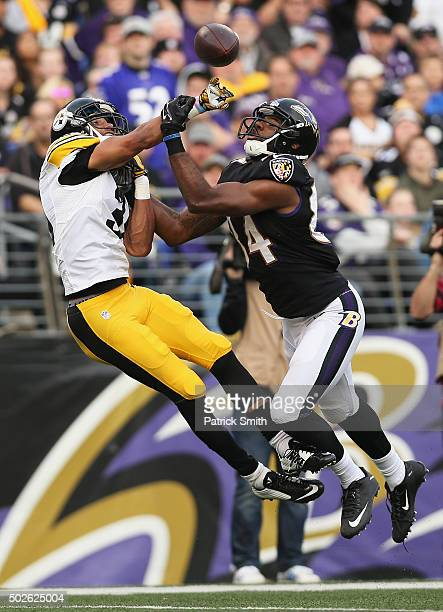 Ross Cockrell of the Pittsburgh Steelers defends Chris Matthews of the Baltimore Ravens during the fourth quarter at MT Bank Stadium on December 27...