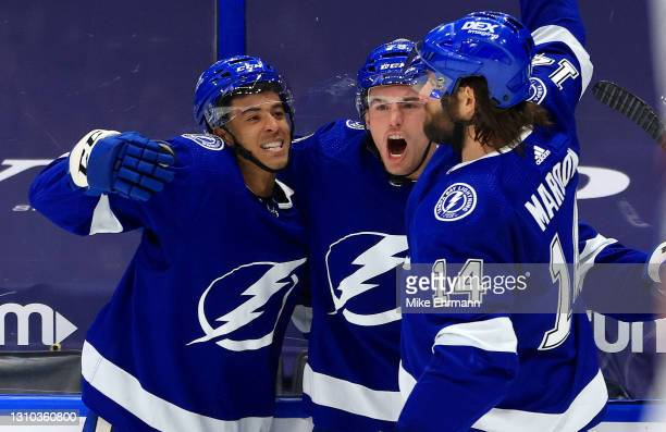 Ross Colton of the Tampa Bay Lightning celebrates a go ahead goal in the third period during a game against the Columbus Blue Jackets at Amalie Arena...
