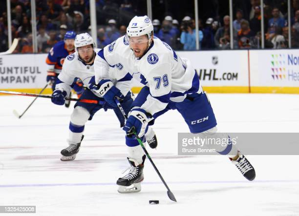 Ross Colton of the Tampa Bay Lightning skates against the New York Islanders in Game Six of the NHL Stanley Cup Semifinals during the 2021 NHL...