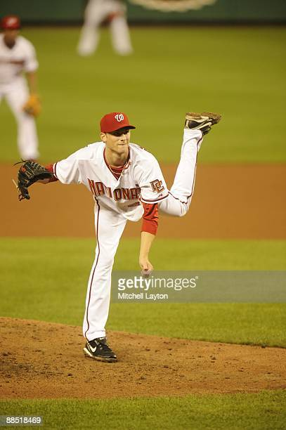 Ross Detwiler of the Washington Nationals pitches during a baseball game against the Cincinnati Reds on June 9, 2009 at Nationals Park in Washington...
